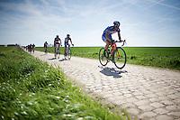 Bjorn Leukemans (BEL/Wanty-Groupe Gobert) in sector 26: Viesly à Quiévy (1.8km)<br /> <br /> 113th Paris-Roubaix 2015