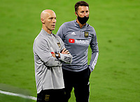 LOS ANGELES, CA - SEPTEMBER 02: Bob Bradley head coach of the Los Angeles Football Club and assistant Mike Sorber during a game between San Jose Earthquakes and Los Angeles FC at Banc of California stadium on September 02, 2020 in Los Angeles, California.