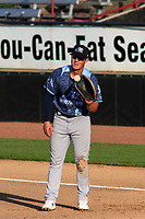 West Michigan Whitecaps first baseman Spencer Torkelson (8) takes a throw at first base between innings during a game against the Wisconsin Timber Rattlers on May 22, 2021 at Neuroscience Group Field at Fox Cities Stadium in Grand Chute, Wisconsin.  (Brad Krause/Four Seam Images)