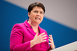 © Joel Goodman - 07973 332324 . 05/10/2016 . Birmingham , UK . RUTH DAVIDSON speaks before Theresa May at the close of the conference . The fourth and final day of the Conservative Party Conference at the International Convention Centre in Birmingham . Photo credit : Joel Goodman