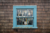 Hooks and lures in a fishing shack window, Menemsha, Chilmark, Martha's Vineyard, Massachusetts