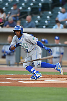 Right fielder Khalil Lee (9) of the Lexington Legends bats in a game against the Columbia Fireflies on Friday, April 21, 2017, at Spirit Communications Park in Columbia, South Carolina. Columbia won, 5-0. (Tom Priddy/Four Seam Images)