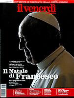 Il Venerdi di Repubblica Italy Magazine Pope Francis .<br /> Photograph by Stefano Spaziani.