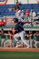 Lowell Spinners Alex Erro (57) bats during a NY-Penn League game against the Batavia Muckdogs on July 10, 2019 at Dwyer Stadium in Batavia, New York.  Batavia defeated Lowell 8-6.  (Mike Janes/Four Seam Images)