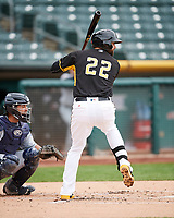 Kaleb Cowart (22) of the Salt Lake Bees at bat against the El Paso Chihuahuas in Pacific Coast League action at Smith's Ballpark on April 30, 2017 in Salt Lake City, Utah. El Paso defeated Salt Lake 12-3. This was Game 2 of a double-header originally scheduled on April 28, 2017. (Stephen Smith/Four Seam Images)