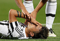Calcio, Serie A: Fiorentina vs Juventus. Firenze, stadio Artemio Franchi, 24 aprile 2016.<br /> Juventus' Paulo Dybala reacts after getting injured during the Italian Serie A football match between Fiorentina and Juventus at Florence's Artemio Franchi stadium, 24 April 2016. <br /> UPDATE IMAGES PRESS/Isabella Bonotto