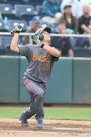 Jason Vosler #20 of the Boise Hawks bats against the Everett AquaSox at Everett Memorial Stadium on July 22, 2014 in Everett, Washington. Everett defeated Boise, 6-0. (Larry Goren/Four Seam Images)