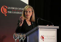 Monique F. Leroux, Chair of the Board, President and CEO of Desjardins Group, deliver a speech to the Canadian Club of Montreal, Monday, February 8, 2016.<br /> <br /> MANDATORY CREDIT <br /> PHOTO : Pierre Roussel - Agence Quebec Presse