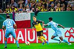 09.08.2019, Merkur Spiel-Arena, Düsseldorf, GER, DFB Pokal, 1. Hauptrunde, KFC Uerdingen vs Borussia Dortmund , DFB REGULATIONS PROHIBIT ANY USE OF PHOTOGRAPHS AS IMAGE SEQUENCES AND/OR QUASI-VIDEO<br /> <br /> im Bild | picture shows:<br /> Thorgan Hazard (Borussia Dortmund #23) im Duell mit Boubacar Barry (KFC Uerdingen #22), <br /> <br /> Foto © nordphoto / Rauch