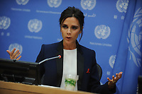 NEW YORK, NY - SEPTEMBER 25: UNAIDS International Goodwill Ambassador, British fashion designer Victoria Beckham speaks during a press conference on the sideline of the 69th Session of the UN General Assembly at the United Nations in New York on September 25, 2014 in New York City.<br /> <br /> <br /> People:  Victoria Beckham<br /> <br /> Transmission Ref:  MNC1<br /> <br /> Must call if interested<br /> Michael Storms<br /> Storms Media Group Inc.<br /> 305-632-3400 - Cell<br /> 305-513-5783 - Fax<br /> MikeStorm@aol.com<br /> www.StormsMediaGroup.com
