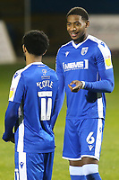 Trae Coyle and Zech Medley of Gillingham, are both currently on loan from Arsenal. They share a smile ahead of kick-off as they get ready to play against their mates from Arsenal during Gillingham vs Arsenal Under-21, Papa John's Trophy Football at the MEMS Priestfield Stadium on 10th November 2020