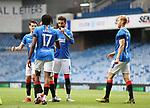 25.07.2020 Rangers v Coventry City: Connor Goldson celebrates with Joe Aribo