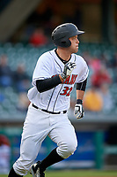 Indianapolis Indians catcher Jacob Stallings (32) runs to first base during a game against the Toledo Mud Hens on May 2, 2017 at Victory Field in Indianapolis, Indiana.  Indianapolis defeated Toledo 9-2.  (Mike Janes/Four Seam Images)