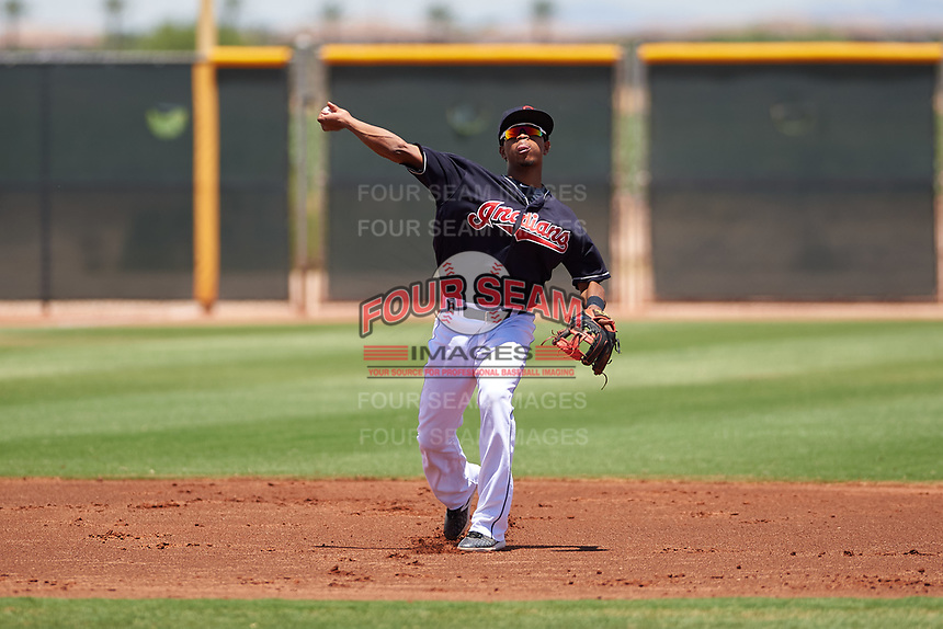 AZL Indians Blue shortstop Jose Tena (24) throws to first base during an Arizona League game against the AZL Indians Red on July 7, 2019 at the Cleveland Indians Spring Training Complex in Goodyear, Arizona. The AZL Indians Blue defeated the AZL Indians Red 5-4. (Zachary Lucy/Four Seam Images)