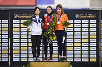SPEEDSKATING: CALGARY: 03-03-2019, ISU World Allround Speed Skating Championships, Overall Podium Ladies, Miho Takagi (JPN), Martina Sáblíková (CZE), Antoinette de Jong (NED), ©Fotopersburo Martin de Jong