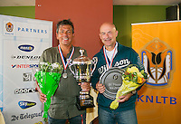 August 24, 2014, Netherlands, Amstelveen, De Kegel, National Veterans Championships, Final men 50+ , Winner Mike Simon and runner up Remko Jansen (R)<br /> Photo: Tennisimages/Henk Koster