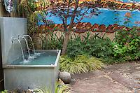 Water feature, fountain water trough in backyard California patio garden with painted wall; Schneck Garden