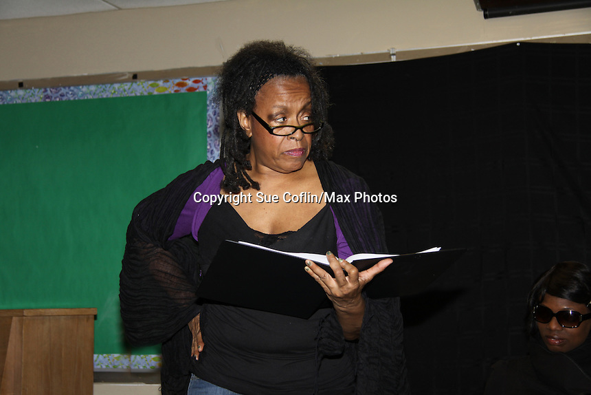 """Niambi Steels and Ana Andre are a part of Evern Gillard-Randolph, playwright and founder of Grandparents Around the World, new play """"To Do List"""" in a first play reading on December 7, 2013 at the Salvation Army Harlem Corps, New York, New York.  (Photo by Sue Coflin/Max Photos)"""