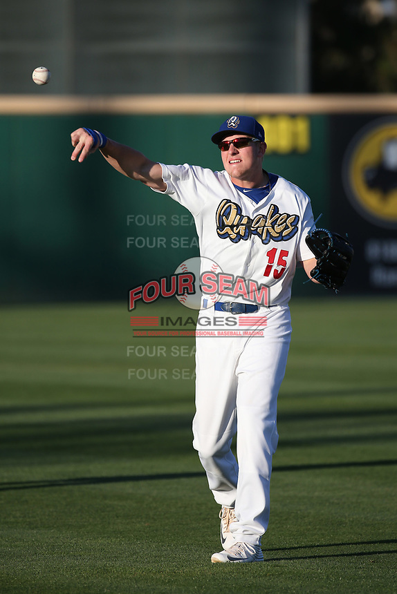 Luke Raley (15) of the Rancho Cucamonga Quakes before a game against the Modesto Nuts at LoanMart Field on June 5, 2017 in Rancho Cucamonga, California. Rancho Cucamonga defeated Modesto, 7-5. (Larry Goren/Four Seam Images)