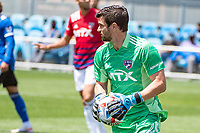 SAN JOSE, CA - APRIL 24: Jimmy Maurer #20 of FC Dallas looks for a team mate during a game between FC Dallas and San Jose Earthquakes at PayPal Park on April 24, 2021 in San Jose, California.