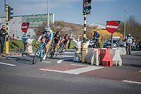 race leaders Greg Van Avermaet (BEL/BMC), Philippe Gilbert (BEL/Quick Step floors) & Oliver Naesen (BEL/AG2R-LaMondiale) in the last kilometers<br /> <br /> 60th E3 Harelbeke (1.UWT)<br /> 1day race: Harelbeke › Harelbeke - BEL (206km)