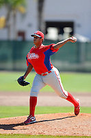 Philadelphia Phillies pitcher Mario Hollands (57) during a minor league Spring Training game against the New York Yankees at Carpenter Complex on March 21, 2013 in Clearwater, Florida.  (Mike Janes/Four Seam Images)
