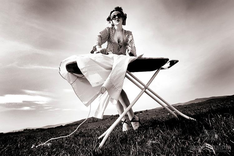Melissa on Wicklow Farm, Ireland. Eco ironing