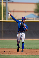 Texas Rangers shortstop Chris Seise (59) makes a throw to first base during an Instructional League game against the San Diego Padres on September 20, 2017 at Peoria Sports Complex in Peoria, Arizona. (Zachary Lucy/Four Seam Images)