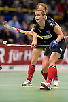 GER - Luebeck, Germany, February 06: During the 1. Bundesliga Damen indoor hockey semi final match at the Final 4 between Berliner HC (blue) and Duesseldorfer HC (red) on February 6, 2016 at Hansehalle Luebeck in Luebeck, Germany. Final score 1-3 (HT 0-1). (Photo by Dirk Markgraf / www.265-images.com) *** Local caption *** Anke Grueneberg #19 of Berliner HC