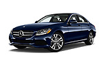 Stock pictures of low aggressive front three quarter view of 2017 Mercedes Benz C Class 300 4 Door Sedan