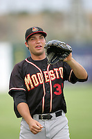 David Christensen of the Modesto Nuts during game against the Lancaster JetHawks at Clear Channel Stadium in Lancaster,California on July 15, 2010. Photo by Larry Goren/Four Seam Images