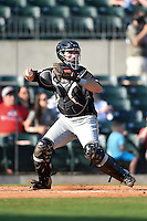 San Antonio Missions catcher Austin Hedges (15) throws down to second during a game against the Arkansas Travelers on May 25, 2014 at Dickey-Stephens Park in Little Rock, Arkansas.  Arkansas defeated San Antonio 3-1.  (Mike Janes/Four Seam Images)