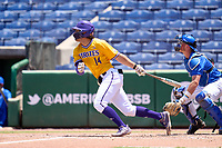 East Carolina Pirates Zach Agnos (14) bats during a game against the Memphis Tigers on May 25, 2021 at BayCare Ballpark in Clearwater, Florida.  (Mike Janes/Four Seam Images)