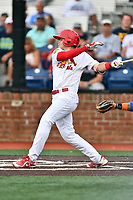 Johnson City Cardinals Mateo Gil (23) swings at a pitch during a game against the Kingsport Mets at TVA Credit Union Ballpark on June 28, 2019 in Johnson City, Tennessee. The Cardinals defeated the Mets 7-4. (Tony Farlow/Four Seam Images)
