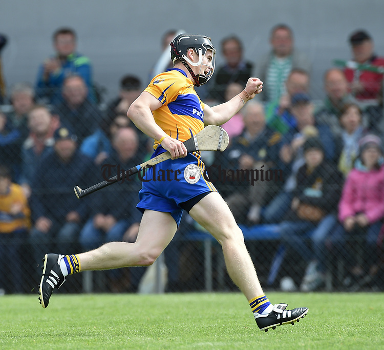 Tony Kelly of Clare celebrates a point against Limerick during their Munster championship game in Ennis. Photograph by John Kelly.