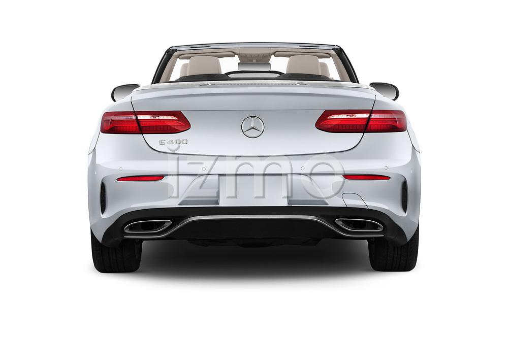 Straight rear view of a 2018 Mercedes Benz E Class E400 2 Door Convertible stock images
