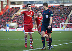 Aberdeen v St Johnstone…27.02.16   SPFL   Pittodrie, Aberdeen<br />Ryan Jack and Graeme Shinnie argue with ref Steven McLean after he awards St Johnstone a penalty<br />Picture by Graeme Hart.<br />Copyright Perthshire Picture Agency<br />Tel: 01738 623350  Mobile: 07990 594431