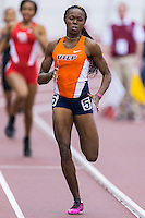 Florence Uwakwe of UTEP wins women 400 meter heat five during Texas A&M Aggie Invitational at Gilliam Indoor Track Stadium in College Station, February 08, 2014.