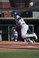 T.J. Schofield-Sam (20) of the Stockton Ports bats against the Inland Empire 66ers at San Manuel Stadium on June 27 2021 in San Bernardino, California. (Larry Goren/Four Seam Images)