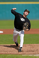 Sean Hupp (26) of the University of South Carolina Upstate Spartans delivers a pitch in the Green and Black Fall World Series Game 2 on Saturday, October 31, 2020, at Cleveland S. Harley Park in Spartanburg, South Carolina. Green won, 6-5. (Tom Priddy/Four Seam Images)