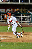Keith Grieshaber (4) of the Orem Owlz follows through on his swing against the Billings Mustangs in Game 2 of the Pioneer League Championship at Home of the Owlz on September 16, 2016 in Orem, Utah. Orem defeated Billings 3-2 and are the 2016 Pioneer League Champions.(Stephen Smith/Four Seam Images)