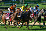 ARCADIA, CA. SEPTEMEBER 29:  #6 Vasilika, ridden by Flavien Prat, and #8 Cambodia, ridden by Drayden Van Dyke, first time around in the Rodeo Drive Stakes (Grade l) on September 29, 2018, at Santa Anita Park in Arcadia, CA. (Photo by Casey Phillips/Eclipse Sportswire/CSM)