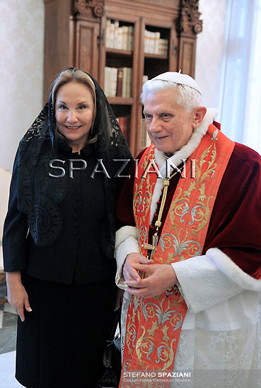 Pope Benedict XVI,Cecilia Morel  during a meeting Chilean President Sebastian Pinera (L) and his wife Cecilia Morel (R) during a private audience at the Vatican, 03 March 2011