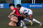 Jasmine Fung of Hong Kong scores a try, while Swapna Oraon of India  tackles during the Asia Rugby U20 Sevens 2017 at King's Park Sports Ground on August 4, 2017 in Hong Kong, China. Photo by Yu Chun Christopher Wong / Power Sport Images