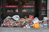 Rough sleeping place outside a branch of Pret a Manger on London Bridge.