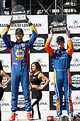 Alexander Rossi, Andretti Autosport Honda, Scott Dixon, Chip Ganassi Racing Honda, Victory Lane , Podium