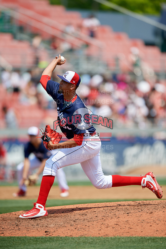 Reading Fightin Phils relief pitcher Ranfi Casimiro (38) delivers a pitch during the first game of a doubleheader against the Portland Sea Dogs on May 15, 2018 at FirstEnergy Stadium in Reading, Pennsylvania.  Portland defeated Reading 8-4.  (Mike Janes/Four Seam Images)