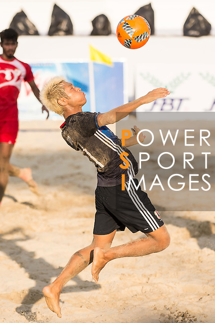 GOTO Takasuke of Japan in action during the Beach Soccer Men's Team Gold Medal Match between Japan vs Oman on Day Nine of the 5th Asian Beach Games 2016 at Bien Dong Park on 02 October 2016, in Danang, Vietnam. Photo by Marcio Machado / Power Sport Images