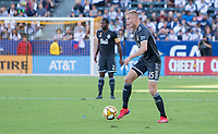 CARSON, CA - SEPTEMBER 29: Andy Rose #15 of the Vancouver Whitecaps moves with the ball during a game between Vancouver Whitecaps and Los Angeles Galaxy at Dignity Health Sports Park on September 29, 2019 in Carson, California.