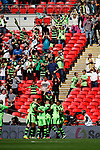 Tranmere Rovers 1 Forest Green Rovers 3, 14/05/2017. Wembley Stadium, Conference play off Final. Forest Green fans celebrate their team's second goal during the Vanarama Conference play off Final  between Tranmere Rovers v Forest Green Rovers at the Wembley. Photo by Paul Thompson.